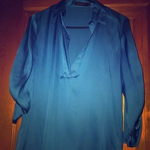 Limited blue v-neck satin top, size small